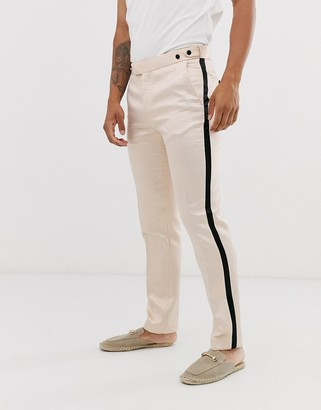 Asos DESIGN skinny tuxedo prom suit trousers in black with champagne side stripe