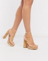 London Rebel clear strap platform heeled sandals in cork