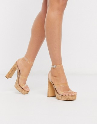 London Rebel clear strap platform heeled sandals in cork