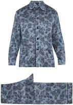 MENG Bird and floral-print silk-satin pyjama set