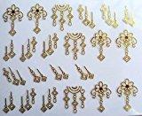 Set of 5 Nail Art Stickers 3D Decal Gold Geometric Flowers Metallic Design