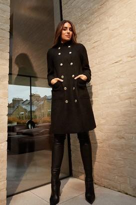 Karen Millen Boucle Military Double Breasted Coat