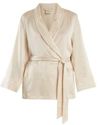 Morpho + Luna Amelie Sandwashed-silk Short Robe - Womens - Cream