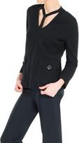 Max Studio Cloque Check Textured V-Neck Pullover