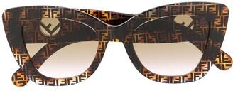 Fendi Eyewear Cat-Eye Monogram-Print Sunglasses