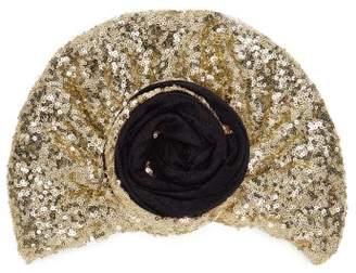 Julia Clancey - Edith Glitz Sequinned Silk-blend Turban Hat - Womens - Black