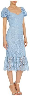 ML Monique Lhuillier Short Sleeve Lace Midi Dress w/ Ruffled Hem (French Blue) Women's Dress