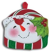 Cheerful Winter Snowman Virginia Red Cardinal Shaped Potholder