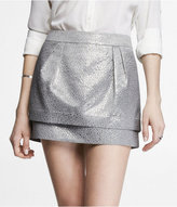 Express Crocodile Jacquard Double Layer Mini Skirt