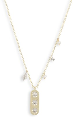 Meira T Pave Diamond & Pearl Pendant Necklace