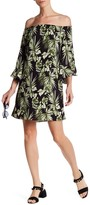 Bobeau Floral Ruffle Sleeve Dress