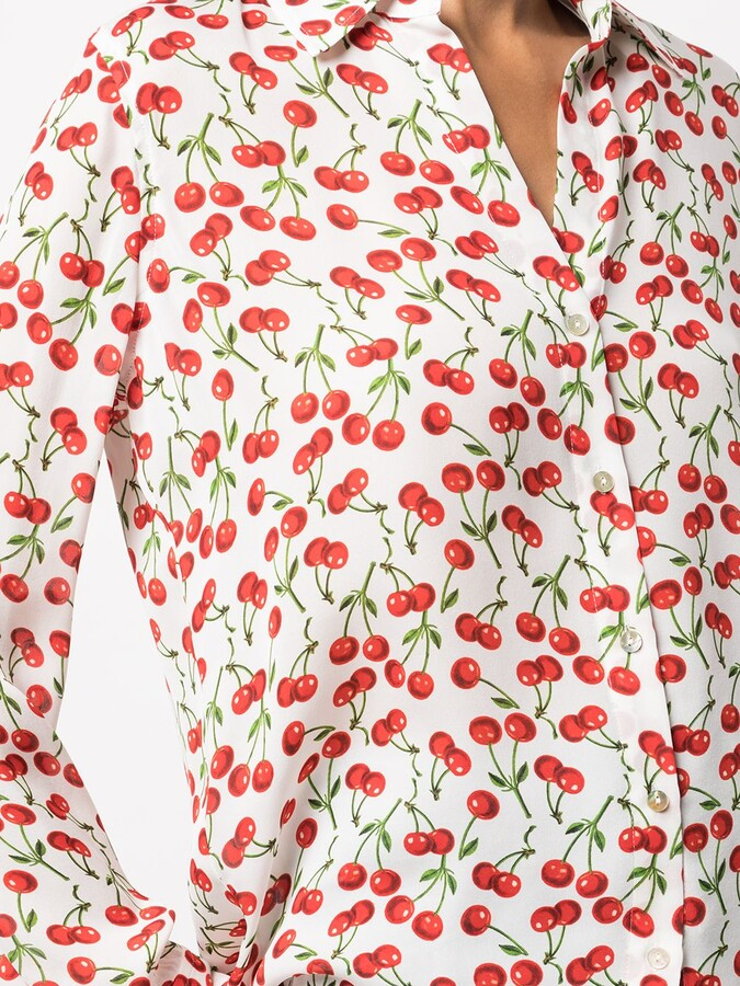 Thumbnail for your product : L'Agence Cherry-Print Silk Shirt