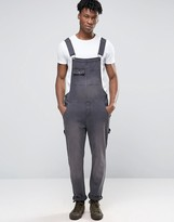Asos Denim Overalls With Abrasions In Washed Black