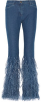 Michael Kors Feather-Trimmed Mid-Rise Flared Jeans