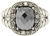 David Yurman 925 Sterling Silver with Hematite and 0.20ct Diamonds Ring Size 6