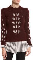 Isabel Marant Ilia Cutout Puff-Shoulder Sweater, Burgundy