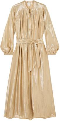 Forte Forte Belted Gathered Silk-blend Lame Midi Dress
