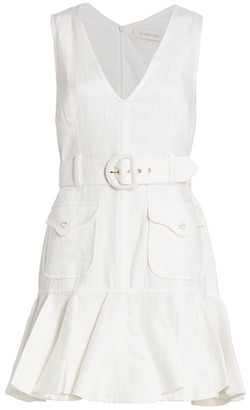 Zimmermann Super 8 Belted Linen Mini Flounce Dress