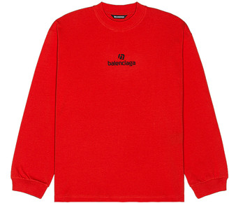 Balenciaga Long Sleeve Tee in Vermillion & Black | FWRD