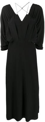 Victoria Beckham Draped-Sleeve Drawstring Midi Dress