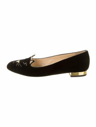 Charlotte Olympia Graphic Print Embroidered Accent Loafers Black