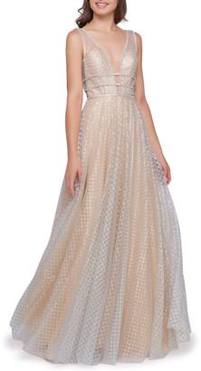 Mac Duggal Diamond-Pattern V-Neck Sleeveless A-Line Gown w/ Rhinestone Trim