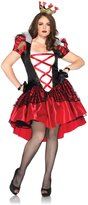 Leg Avenue Women's Plus-Size 2 Piece Royal Red Queen Costume, Black/Red