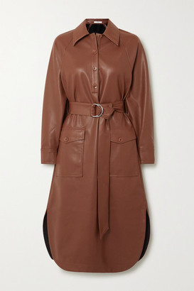 Tibi Belted Faux Leather Midi Dress - Dark brown