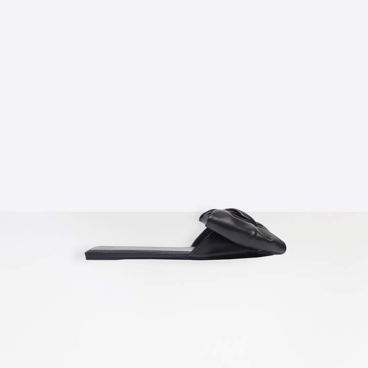 Balenciaga Square Knife Bow Flat Mules in black nappa leather