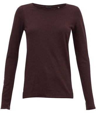 ATM - Heather Cotton-blend Jersey Long-sleeved T-shirt - Womens - Burgundy