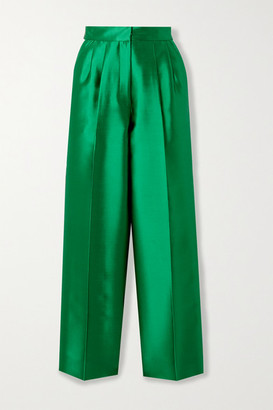 Christopher John Rogers Pleated Silk And Wool-blend Straight-leg Pants - Emerald
