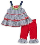 Nannette Little Girls Seersucker Dress and Leggings Set