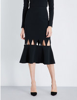 David Koma Cutout stretch-crepe midi skirt