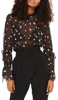 Topshop Women's Drawstring Sleeve Sheer Dot Blouse