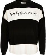 River Island Girls black word panel sweater