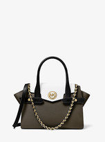 Michael Kors Carmen Small Color-Block Saffiano Leather Belted Satchel