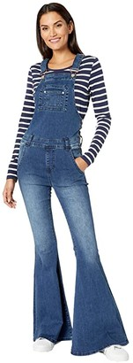 Rock and Roll Cowgirl Flare Overall WA-4123 (Medium Wash) Women's Jumpsuit & Rompers One Piece
