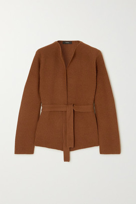 Theory Belted Ribbed Wool And Cashmere-blend Cardigan