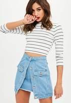 Missguided Petite Blue Double Layer Denim Mini Skirt
