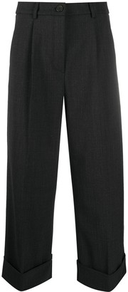 Semi-Couture High-Rise Cropped Wide Leg Trousers