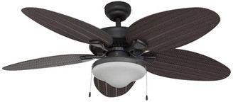 """Prominence Home 52"""" Seagrove Bronze Outdoor Ceiling Fan with Wet-Rated Globe Light"""
