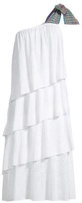 Pitusa One-Shoulder Bow Ruffle Midi Dress