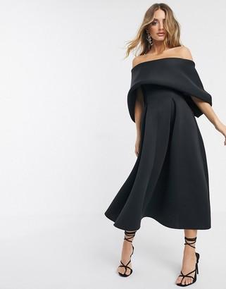 Asos Design DESIGN fold top minimal prom midi dress-Black