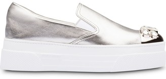Miu Miu Metallic Crystal-Embellished Slip-On Trainers