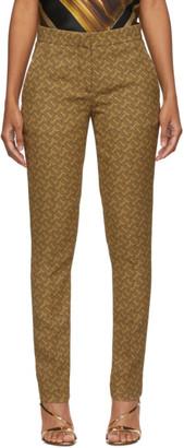 Burberry Beige Silk Hanover Monogram Print Trousers