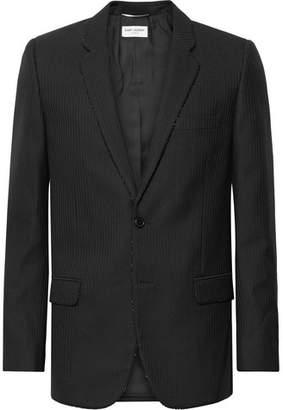 Saint Laurent Black Slim-Fit Bead-Embellished Wool Blazer