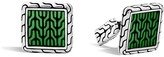John Hardy Classic Chain Sterling Silver Enamel Square Cufflinks with Transparent Green Enamel