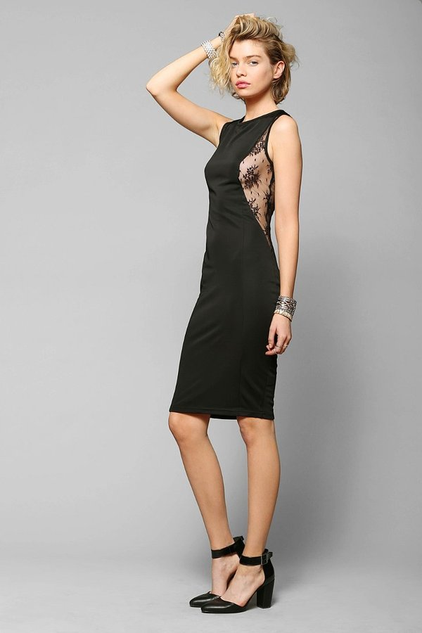 Glamorous Lace-Inset Bodycon Midi Dress