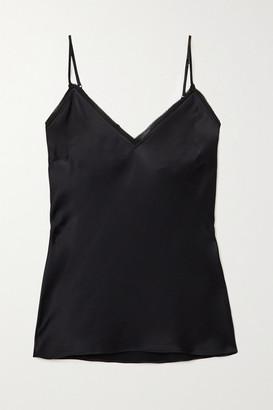Frame Frayed Silk-satin Camisole - Black