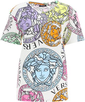 Versace OVERSIZED T-SHIRT WITH MEDUSA AMPLIFIED PRINT 44 White, Purple, Orange Cotton